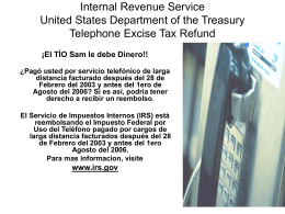 Internal Revenue Service United States Department of the