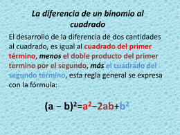 La diferencia de un binomio al cuadrado