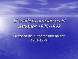 El conflicto armado en El Salvador 1930-1992