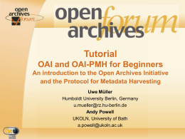 OA-Forum OAI Tutorial, Lisbon