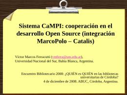 Sistema CaMPI - Acuerdo de Bibliotecas Universitarias de