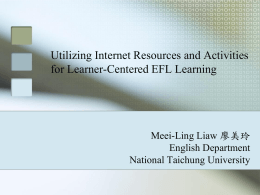 Utilizing Internet Resources and Activities for Learner