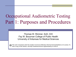 Occupational Audiometric Testing 1: Overview
