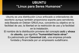 """UBUNTU """"Linux para Seres Humanos"""""""