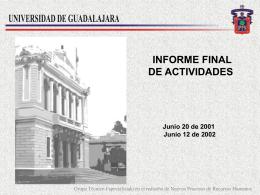 Informe Recursos Humanos - Universidad de Guadalajara