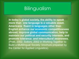 Bilingualism - Schoolwires