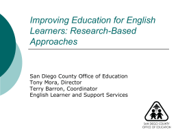 Improving Education for English Learners: Research …