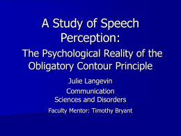 A Study of Speech Perception: