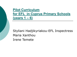 Pilot Curriculum for EFL in Cyprus Primary Schools (years