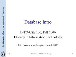 Database Intro - University of Washington