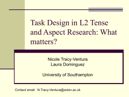 Task Design in L2 Tense and Aspect Research: What matters?