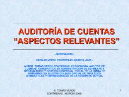 """AUDITORIA DE CUENTAS """"ASPECTOS RELEVANTES"""""""