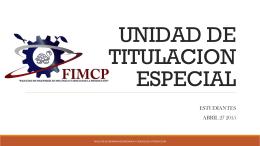 UNIDAD DE TITULACION ESPECIAL