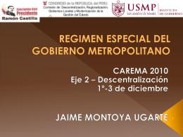 REGIMEN ESPECIAL DEL GOBIERNO METROPOLITANO