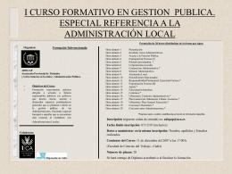 I CURSO FORMATIVO EN GESTION Y PUBLICA. ESPECIAL