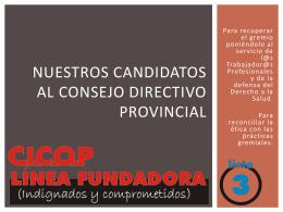 Nuestros candidatos al consejo directivo provincial