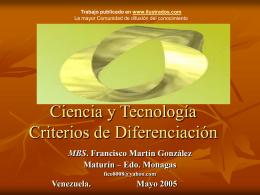 Ciencia y Tecnologia Criterios de Diferenciacion.