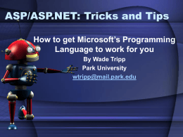 ASP.net Tips and Tricks - Missouri State University
