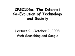 CPSC156a: The Internet Co-Evolution of Technology and …