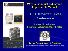 Texas Department of Banking Financial Education