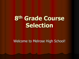 8th Grade Course Selection