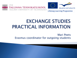 ERASMUS EXCHANGE PRACTICAL INFORMATION