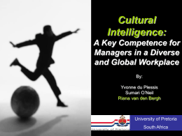 Cultural Intelligence: A Key Competence for Managers in …