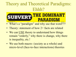 Theory and Theoretical Paradigms: Ehhh?