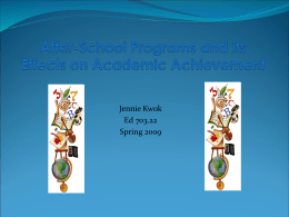 After-School Programs and its Effects on Academic …