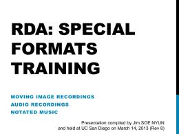 RDA: Special Formats training