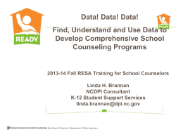 2013-14 Fall RESA Training for School Counselors Linda H
