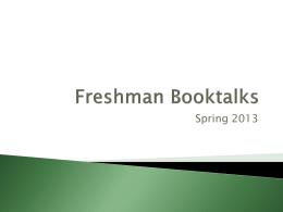 Freshman Booktalks - Zion-Benton Township High School