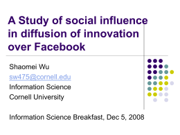 Social influence in diffusion of innovation over Facebook