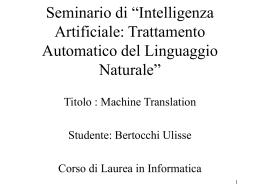 """Seminario di """"Intelligenza Artificiale: Trattamento"""