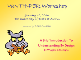 VaNTH-PER Workshop April 12, 2003 The University of …