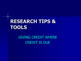 RESEARCH TIPS & TOOLS - Tucson Unified School District