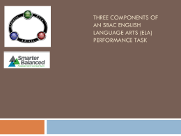Three components of an SBAC Performance Task