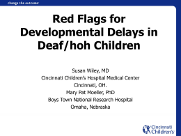 Red Flags for Developmental Delays in Deaf/hoh Children