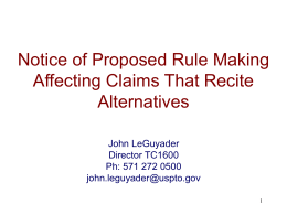 Proposed Rule Changes to Alternative Claims