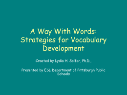A Way With Words: Strategies for Vocabulary …