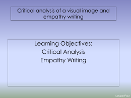 Lesson Six- critical analysis of a visual image and