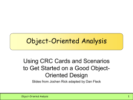 Object-Oriented Analysis - George Mason University
