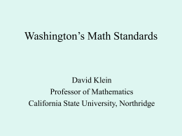 Washington's Math Standards