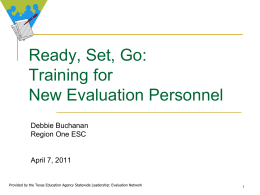 Training for New Evaluation Personnel