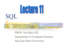 SQL DATA - SJSU Computer Science Department
