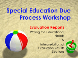 Special Education Due Process Workshop