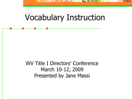 Vocabulary Instruction - West Virginia Department of …
