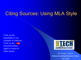 Citing Resources Using MLA Style