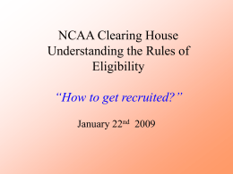 NCAA Clearing House Understanding the Rules of …