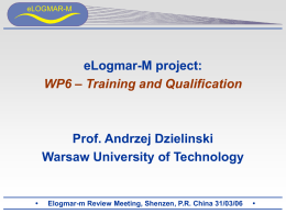 Training and Education - eLOGMAR-M